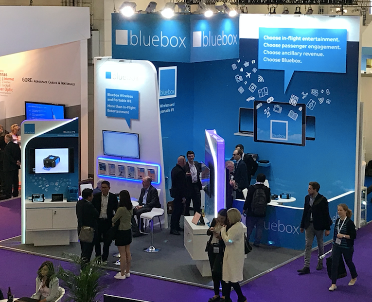 Photo shows Bluebox exhibition stand at AIX18